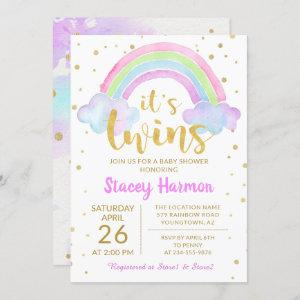 Gold Twins Pastel Watercolor Rainbow Baby Shower Invitation