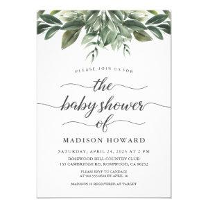 Graceful Greenery Baby Shower Invitation