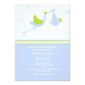 Grandma's First (Blue) Baby Shower Invitation