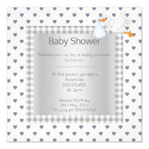 Gray White Gingham babyshower single stork Invitation