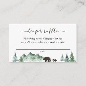 Great Adventure Bear and Mountains Diaper Raffle Enclosure Card