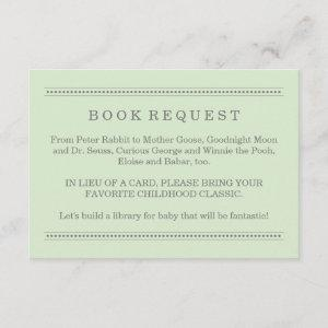 Green Baby Shower Book Request Enclosure Card