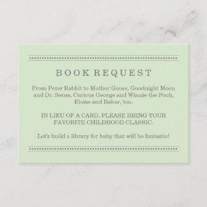 Green Book Request Neutral Baby Shower Enclosure Card