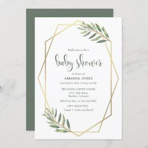 Green Foliage and Gold Bohemian Baby Shower Invitation
