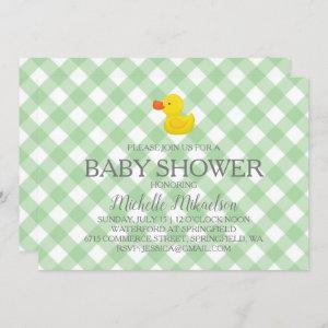 Green Gingham Rubber Duckie Baby Shower