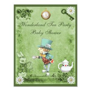 Green Mad Hatter Wonderland Tea Party Baby Shower Invitation