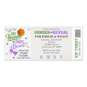 Green Purple Free Throws or Bows Gender Reveal Invitation