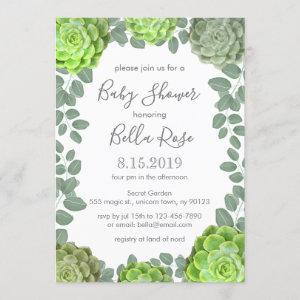 Green Succulents Baby Shower Invitations