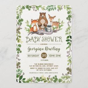 Green Woodland Baby Shower Invitation Forest