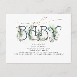 Greenery and Gold Typography Modern Baby Shower Invitation Postcard