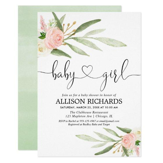Greenery and pink gold floral girl baby shower invitation