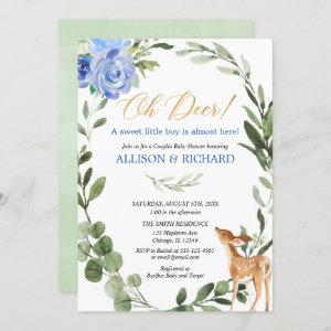 Greenery blue gold baby deer couples baby shower invitation