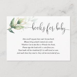 Greenery book request books for baby enclosure card