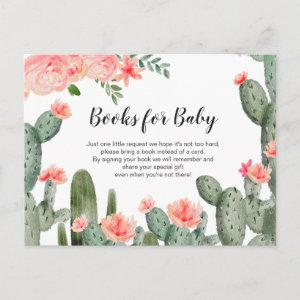 Greenery Cactus Baby Shower  - Bring a book insert Invitation Postcard
