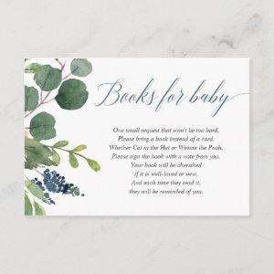 Greenery dusty blue boy baby shower book request enclosure card