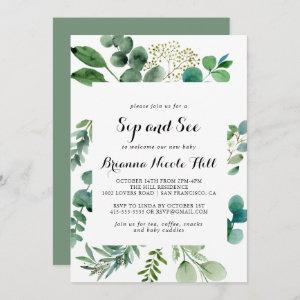 Greenery Eucalyptus Calligraphy Sip and See Invitation
