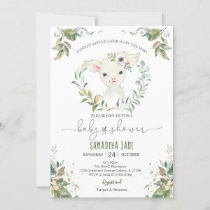 Greenery Floral Lamb Baby Shower