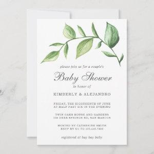 Greenery Gender Neutral Rustic Couples Baby Shower Invitation