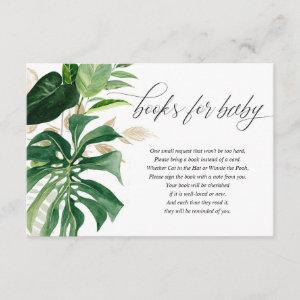 Greenery gold tropical leaves books for baby enclosure card
