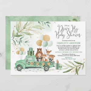 Greenery Gold Woodland Drive Through Baby Shower