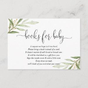 Greenery green gold book request books for baby en enclosure card