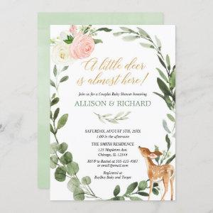 Greenery little deer couples baby shower pink gold invitation