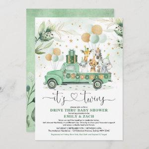 Greenery Safari Animals Twins Boy Girl Baby Shower Invitation