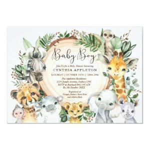 Greenery Safari Wild Animals Baby Boy Shower Invitation