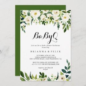 Greenery White Floral BabyQ Baby Shower Barbecue Invitation