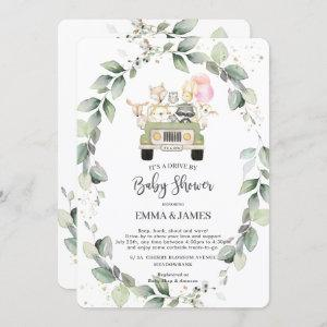 Greenery Woodland Drive By Baby Shower Girl Invitation