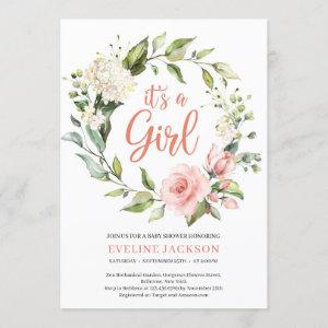 Greeney and blush floral wreath it's a girl baby invitation