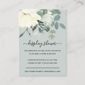 GREY IVORY WHITE FLORAL BUNCH DISPLAY BABY SHOWER ENCLOSURE CARD