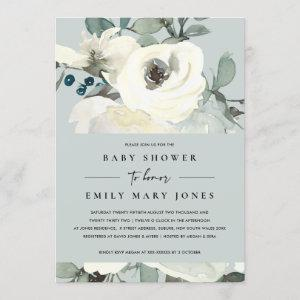GREY NEUTRAL IVORY WHITE FLORAL BUNCH BABY SHOWER
