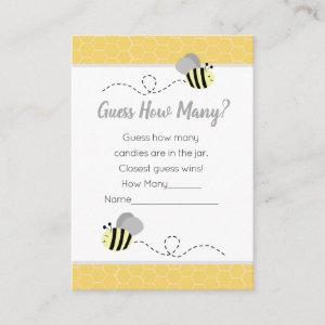 Guess How Many Gray Bumble Bee Baby Shower Game Enclosure Card