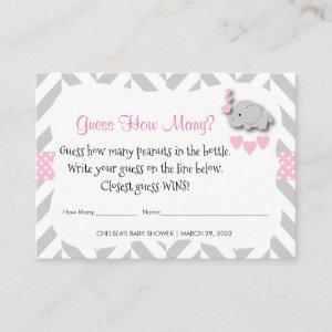 Guess How Many - Pink Elephant Enclosure Card