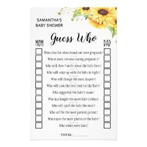 Guess who baby shower english spanish game card