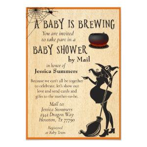 Halloween Baby is Brewing Shower by Mail Witch Invitation