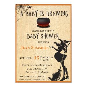 Halloween Baby is Brewing Witch Baby Shower Fall Invitation