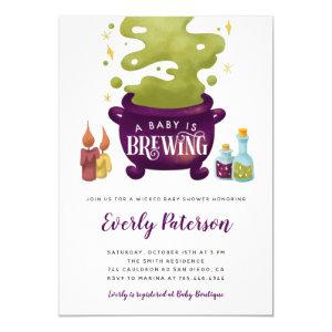 Halloween Baby Is Brewing Witch Baby Shower Invitation