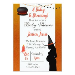 Halloween Baby is Brewing Witch Modern Baby Shower Invitation