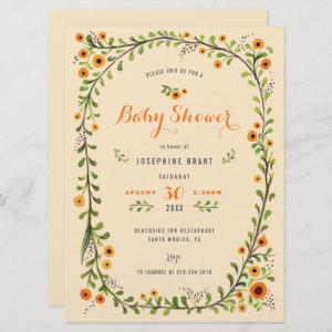 Hand Painted Floral Sunflower Boho Baby Shower Invitation