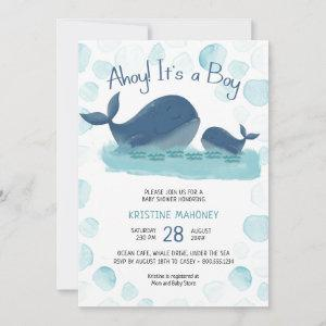 Happy Whale Watercolor Ahoy Its a Boy Baby Shower Invitation