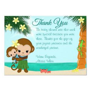 Hawaiian Hula Monkey Baby Shower Thank You BOY#01 Invitation