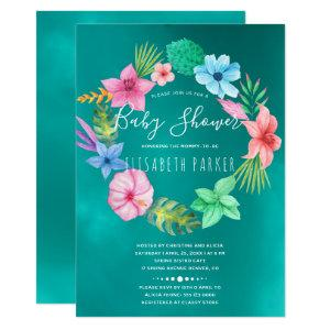 Hawaiian tropical teal floral wreath baby shower invitation