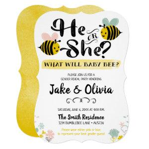 He or She Gender Reveal Bee Baby Bumblebee Invitation