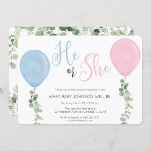 He or She Watercolor Balloon gender reveal party Invitation