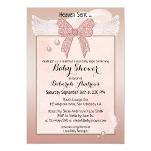 Heaven Sent Angel Wing Girl Baby Shower Invitation