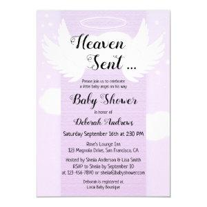 Heaven Sent Angel Wings Baby Shower Invitation