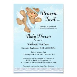 Heaven Sent Angel Wings Boy Baby Shower Invitation