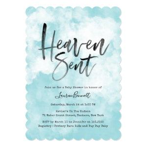 Heaven Sent | Baby Shower | Blue Invitation